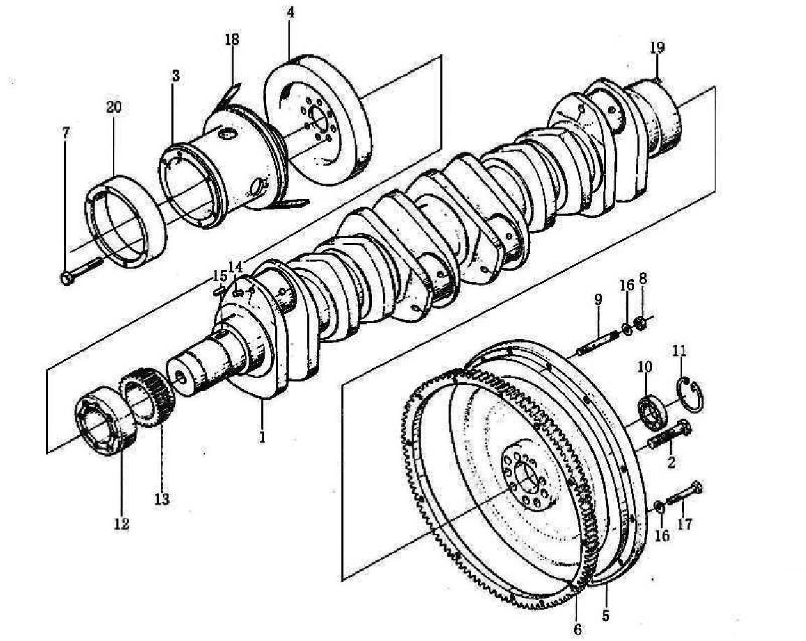 CRANKSHAFT & FLYWHEEL, WD615-II, SINOTRUK HOWO SPARE PARTS CATALOG