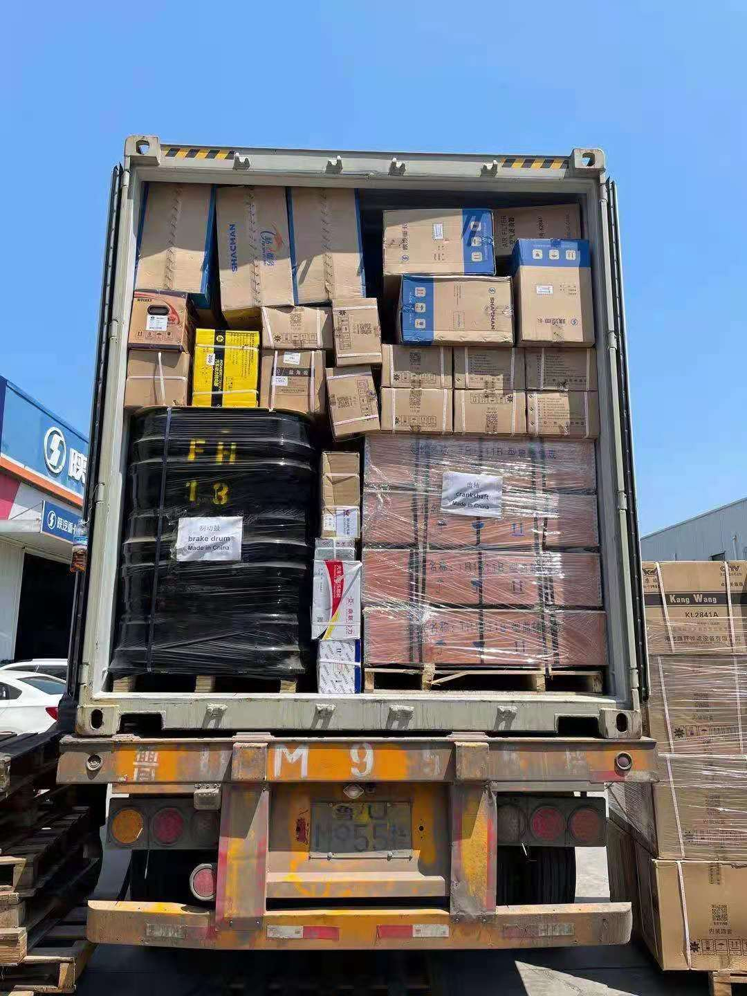howo truck parts shipped in 40hq container in july.